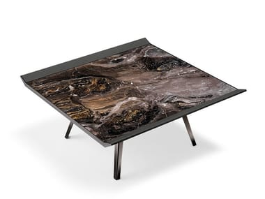 Square metal and leather coffee table for living room MOON INVADERS | Square coffee table