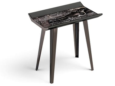 Rectangular leather and metal coffee table for living room MOON INVADERS | Rectangular coffee table