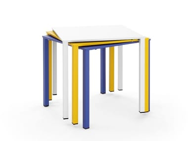 Stackable powder coated steel table MOONTABLE