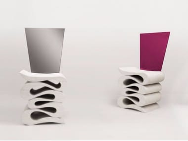 Sedia in legno lamellare con schienale in inox o ferro MORBIDA