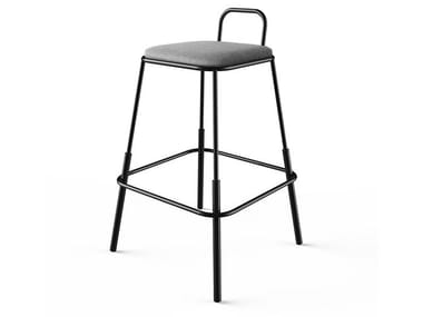High upholstered fabric stool with footrest MORF | High stool