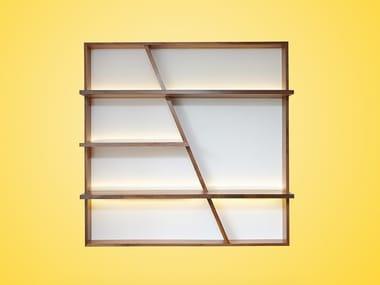 Open wall-mounted walnut bookcase MORGAN