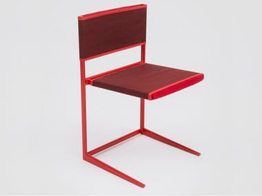 Powder coated metal and cotton fiber chair MORITZ