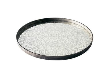 Round wood and glass tray MOROCCAN FROST