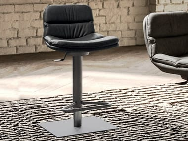 Stool in metal and leather with gas lift MORRIS