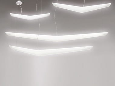 Fluorescent polypropylene pendant lamp MOUETTE 2500