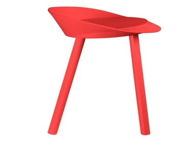 Lacquered wood veneer stool MR COLLINS