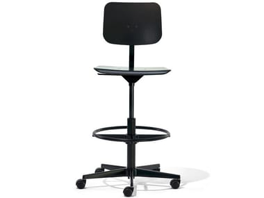 Height-adjustable stool with 5-spoke base MR. SQUARE   Stool