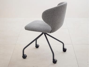Upholstered fabric chair with castors MULA | Chair with castors