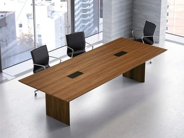 Wooden meeting table MULTIPLICEO | Rectangular meeting table