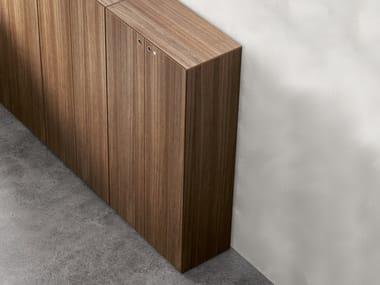 Wood veneer office storage unit with lock MULTIPLICEO WOOD VENEERED