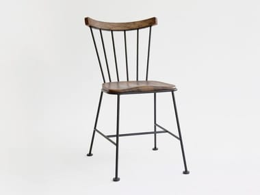 Open back wooden and metal chair MW