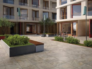Porcelain stoneware outdoor floor tiles with stone effect MY EARTH OUTDOOR