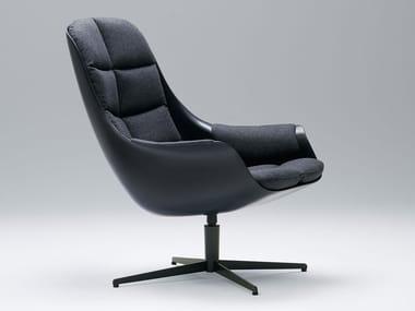 Fabric armchair with 4-spoke base with armrests MYBIRD   Fabric armchair