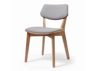 Cadeira estofada de pele MYRANDA | Cadeira estofada