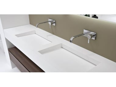 Corian® washbasin with integrated countertop SLOT & MYSLOT