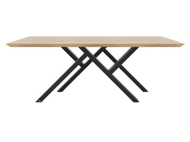 Rectangular steel and wood table Mr. W