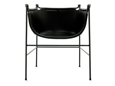 Leather chair with armrests NÄBB