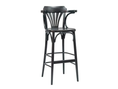 Wooden bar stool with back and footrest N° 135 | Barstool