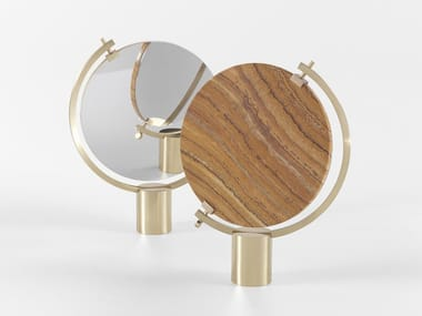 Swivel marble table mirror and brass base NAIA