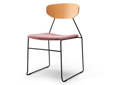 Sedia a slitta con cuscino integrato NAKED | Sedia con cuscino integrato