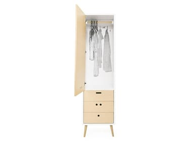 Wood veneer wardrobe with drawers NANDOS