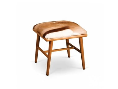 Low upholstered leather stool NANO | Stool