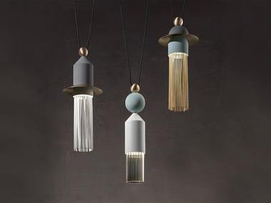 LED painted metal pendant lamp NAPPE C3