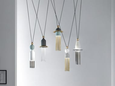 LED painted metal pendant lamp NAPPE C5