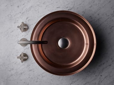 Round single stainless steel washbasin NARCIS COPPER