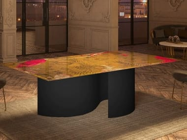 Rectangular glass and steel table NASTRI | Rectangular table