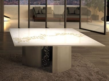 Square glass and steel table NASTRI | Square table