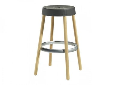 Technopolymer stool with footrest NATURAL GIM | Technopolymer stool