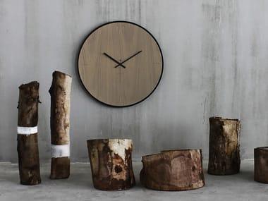 Wall-mounted wooden clock NATURAL OAK GREY
