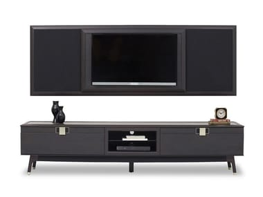 Solid wood TV wall system NAVONA | Storage wall