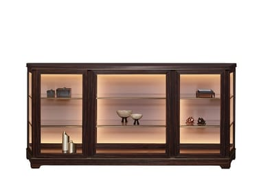 Wooden sideboard with doors with integrated lighting NEFERTITI