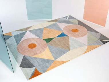 Handmade rectangular wool rug RITUALE