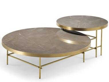 Tavolino basso rotondo in gres porcellanato NELSON | Tavolino