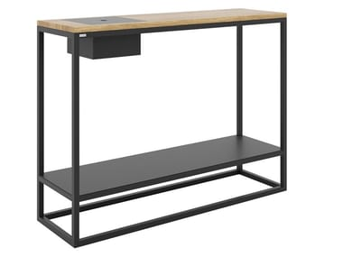 Rectangular steel and wood console table with shelving NELSON