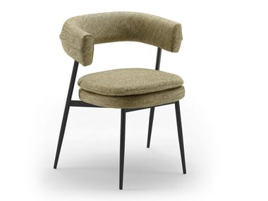 Upholstered fabric chair with armrests NENA
