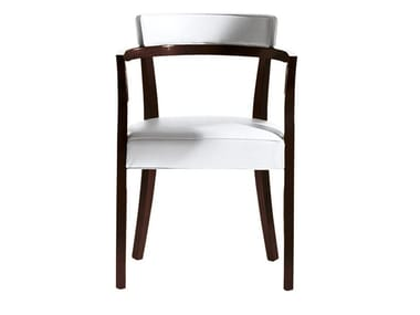 Wooden chair with armrests and leather or fabric covering NEOZ | Chair with armrests