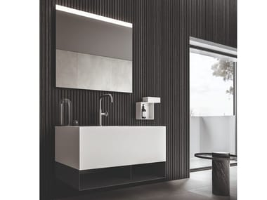 Lacquered wall-mounted vanity unit with towel rail NEROLAB | Vanity unit with towel rail