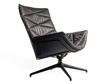 Swivel armchair with 4-spoke base with armrests NEST PURE LOUNGE