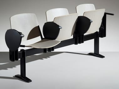 Wooden beam seating with armrests with writing tablet NEW MODULAMM | Beam seating with tip-up seats