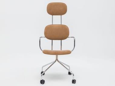 Trestle-based Alcantara® task chair with armrests NEW SCHOOL | Alcantara® task chair