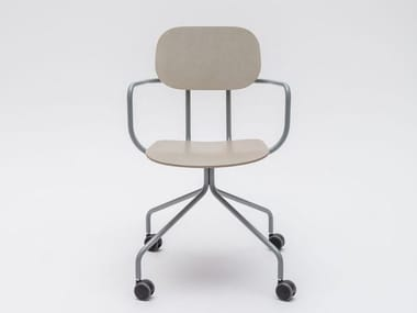 Trestle-based plywood chair with castors NEW SCHOOL | Chair with castors