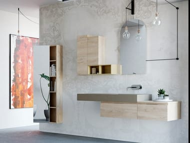Single wall-mounted English oak vanity unit with drawers NEW SMART NS21