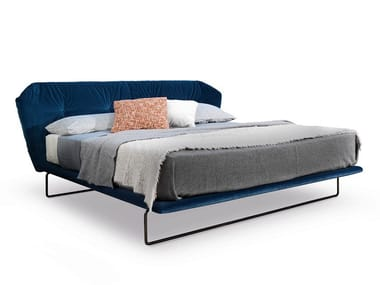 Fabric double bed with upholstered headboard NEW YORK AIR