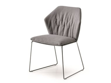 Sled base upholstered fabric chair NEW YORK | Chair