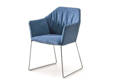 Upholstered fabric chair with armrests NEW YORK | Chair with armrests